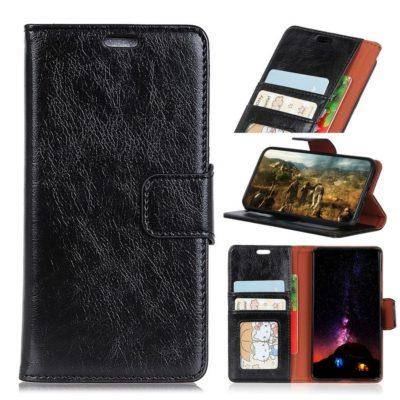 Sony Xperia XA1 Plus Lompakkokotelo Musta Nahka