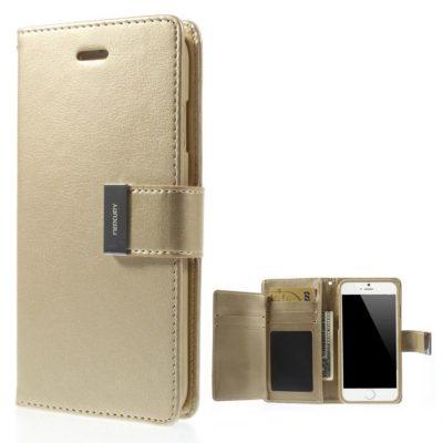 Apple iPhone 6 / 6S Rich Diary Lompakkokotelo Kulta