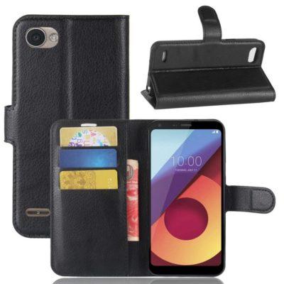 LG Q6 Lompakkokotelo PU-Nahka Musta