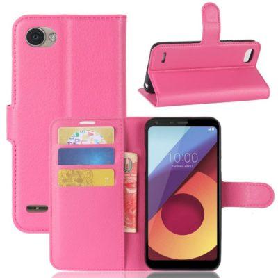 LG Q6 Lompakkokotelo PU-Nahka Pinkki