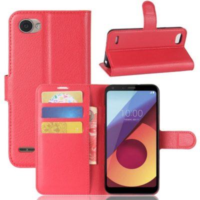 LG Q6 Lompakkokotelo PU-Nahka Punainen
