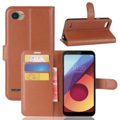 LG Q6 Lompakkokotelo PU-Nahka Ruskea