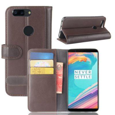 OnePlus 5T Lompakkokotelo Ruskea Nahka