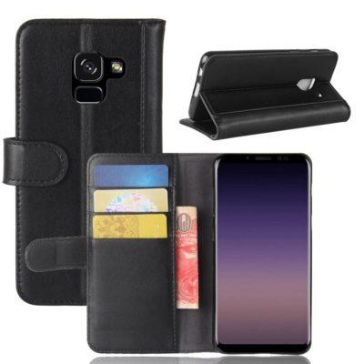 Samsung Galaxy A8 (2018) Kotelo Musta Nahka