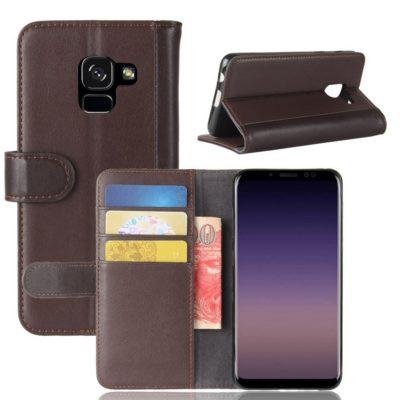 Samsung Galaxy A8 (2018) Kotelo Ruskea Nahka