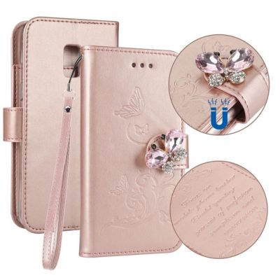 Samsung Galaxy A8 (2018) Kotelo Perhonen Vaaleanpunainen