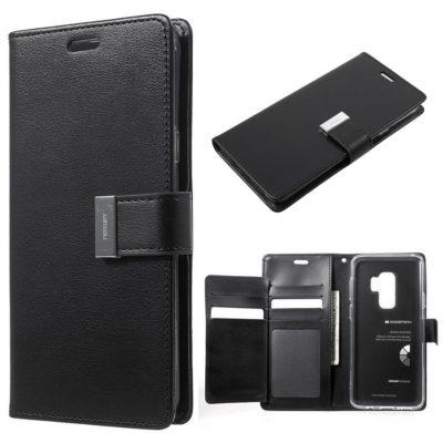 Samsung Galaxy S9+ Kotelo Rich Diary Musta