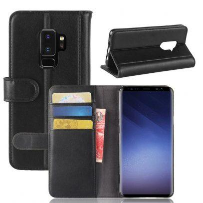 Samsung Galaxy S9+ Suojakotelo Musta Nahka