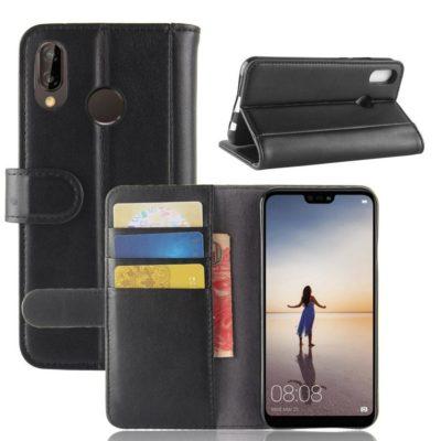 Huawei P20 Lite Suojakotelo Musta Nahka
