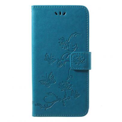 Huawei P20 Lompakkokotelo Kukka Sininen