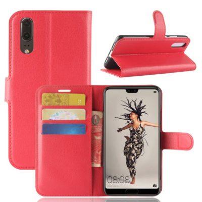 Huawei P20 Suojakotelo Punainen Lompakko
