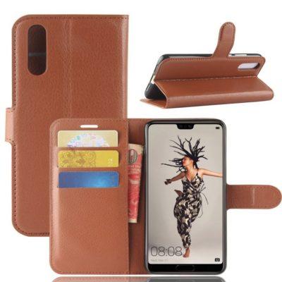 Huawei P20 Suojakotelo Ruskea Lompakko