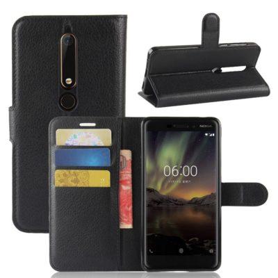 Nokia 6 (2018) Suojakotelo Musta Lompakko