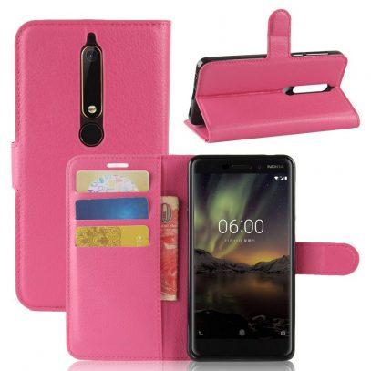 Nokia 6 (2018) Suojakotelo Pinkki Lompakko