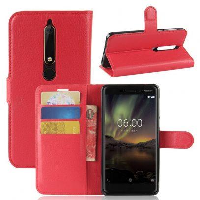 Nokia 6 (2018) Suojakotelo Punainen Lompakko