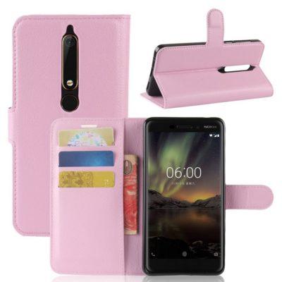 Nokia 6 (2018) Suojakotelo Vaaleanpunainen Lompakko