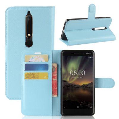 Nokia 6 (2018) Suojakotelo Vaaleansininen Lompakko