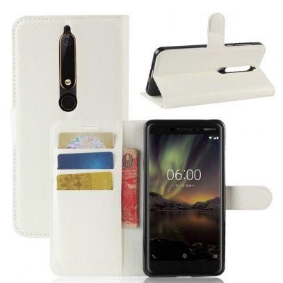 Nokia 6 (2018) Suojakotelo Valkoinen Lompakko