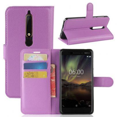 Nokia 6 (2018) Suojakotelo Violetti Lompakko