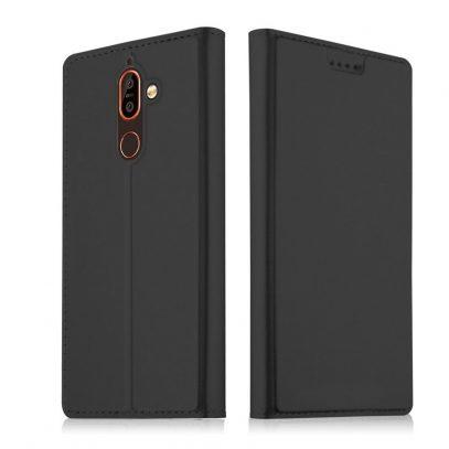 Nokia 7 Plus Kannellinen Suojakotelo Musta
