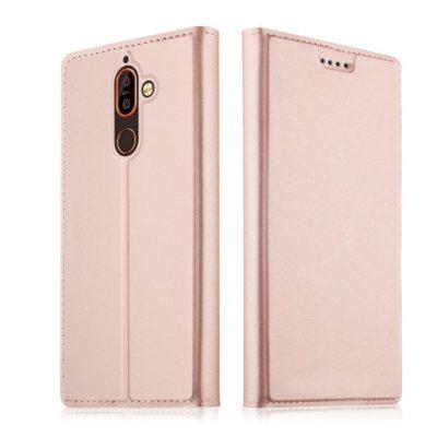 Nokia 7 Plus Kannellinen Suojakotelo Ruusukulta