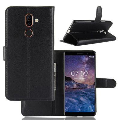 Nokia 7 Plus Suojakotelo PU-Nahka Musta