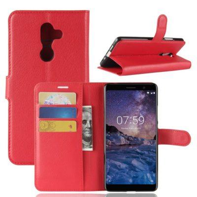 Nokia 7 Plus Suojakotelo PU-Nahka Punainen