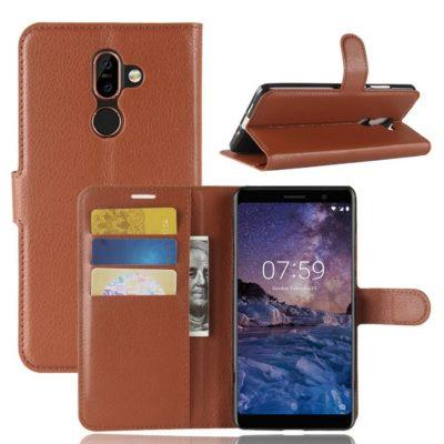 Nokia 7 Plus Suojakotelo PU-Nahka Ruskea