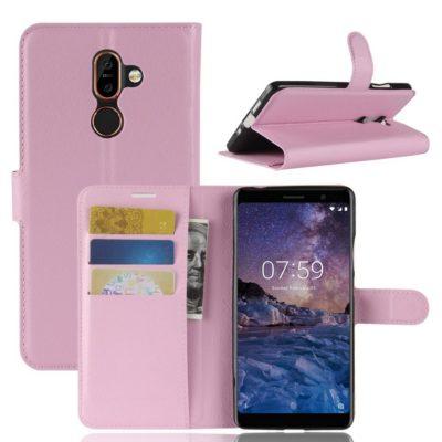 Nokia 7 Plus Suojakotelo PU-Nahka Vaaleanpunainen