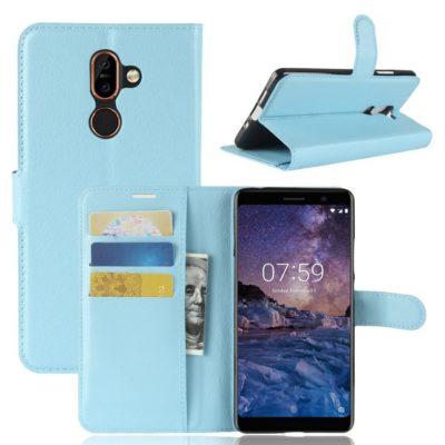 Nokia 7 Plus Suojakotelo PU-Nahka Vaaleansininen