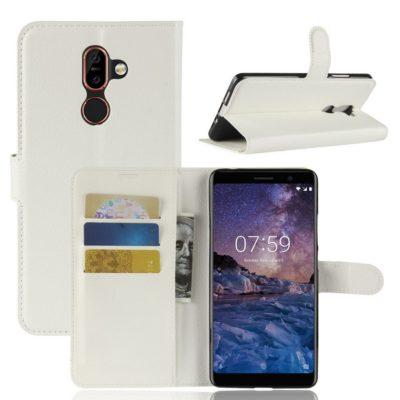Nokia 7 Plus Suojakotelo PU-Nahka Valkoinen