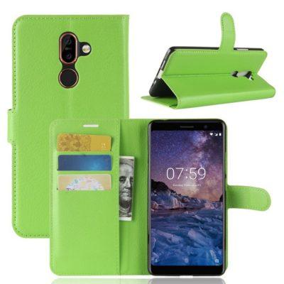 Nokia 7 Plus Suojakotelo PU-Nahka Vihreä