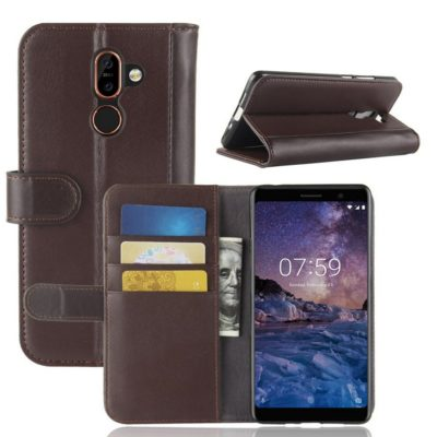 Nokia 7 Plus Suojakotelo Ruskea Nahka