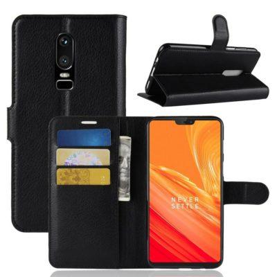 OnePlus 6 Lompakko Suojakotelo Musta