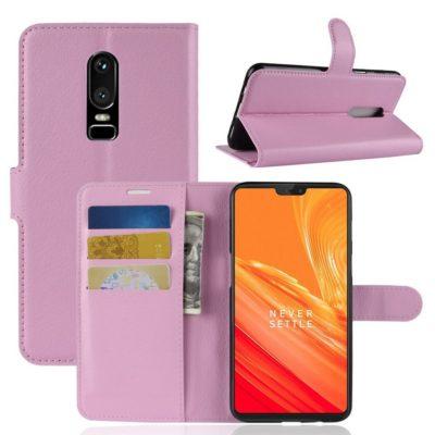 OnePlus 6 Lompakko Suojakotelo Vaaleanpunainen