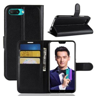 Huawei Honor 10 Suojakotelo PU-Nahka Musta