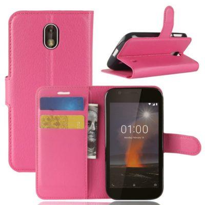 Nokia 1 Suojakotelo Pinkki Lompakko