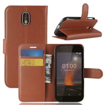 Nokia 1 Suojakotelo Ruskea Lompakko