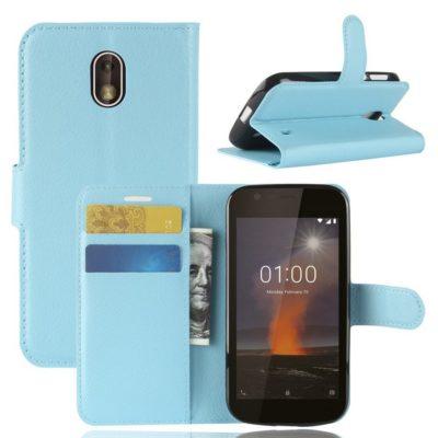 Nokia 1 Suojakotelo Sininen Lompakko