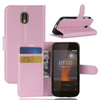 Nokia 1 Suojakotelo Vaaleanpunainen Lompakko