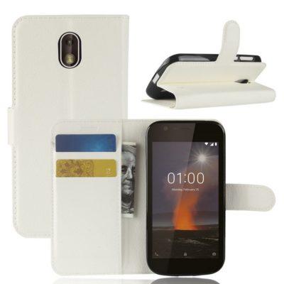 Nokia 1 Suojakotelo Valkoinen Lompakko