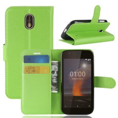 Nokia 1 Suojakotelo Vihreä Lompakko