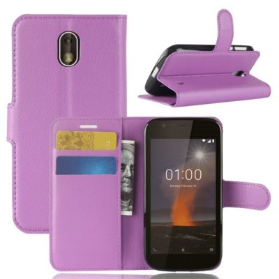 Nokia 1 Suojakotelo Violetti Lompakko