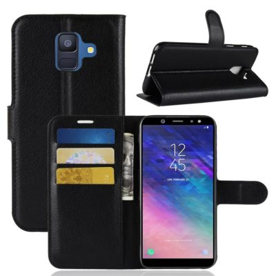 Samsung Galaxy A6 (2018) Kotelo PU-Nahka Musta