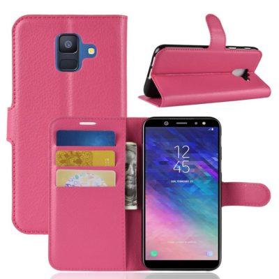 Samsung Galaxy A6 (2018) Kotelo PU-Nahka Pinkki