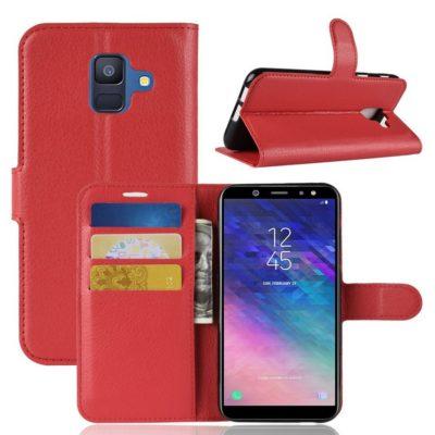 Samsung Galaxy A6 (2018) Kotelo PU-Nahka Punainen