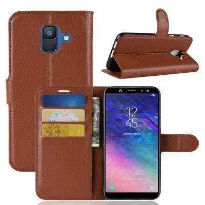 Samsung Galaxy A6 (2018) Kotelo PU-Nahka Ruskea
