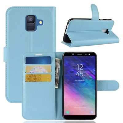 Samsung Galaxy A6 (2018) Kotelo PU-Nahka Sininen