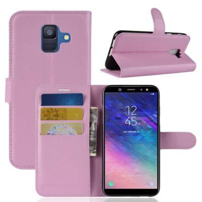 Samsung Galaxy A6 (2018) Kotelo PU-Nahka Vaaleanpunainen