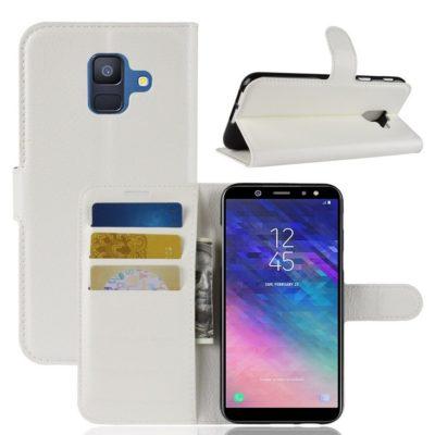 Samsung Galaxy A6 (2018) Kotelo PU-Nahka Valkoinen